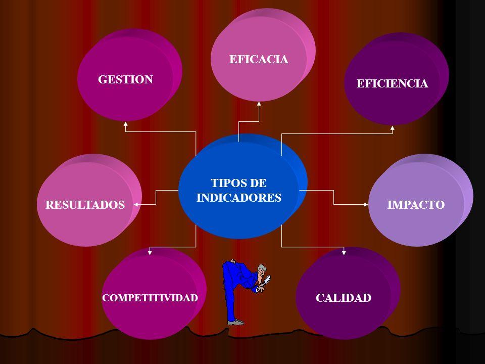 TIPOS DE INDICADORES GESTION RESULTADOS COMPETITIVIDAD EFICACIA EFICIENCIA IMPACTO CALIDAD