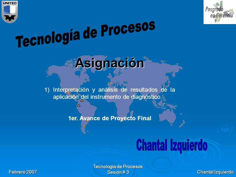 Chantal Izquierdo Febrero 2007 Tecnología de Procesos Sesión # 3 Asignación 1)Interpretación y análisis de resultados de la aplicación del instrumento de diagnóstico.