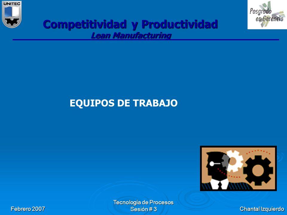 Chantal Izquierdo Febrero 2007 Tecnología de Procesos Sesión # 3 Competitividad y Productividad Lean Manufacturing EQUIPOS DE TRABAJO