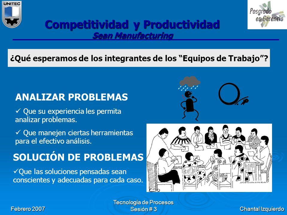 Chantal Izquierdo Febrero 2007 Tecnología de Procesos Sesión # 3 Competitividad y Productividad Sean Manufacturing ¿Qué esperamos de los integrantes de los Equipos de Trabajo .