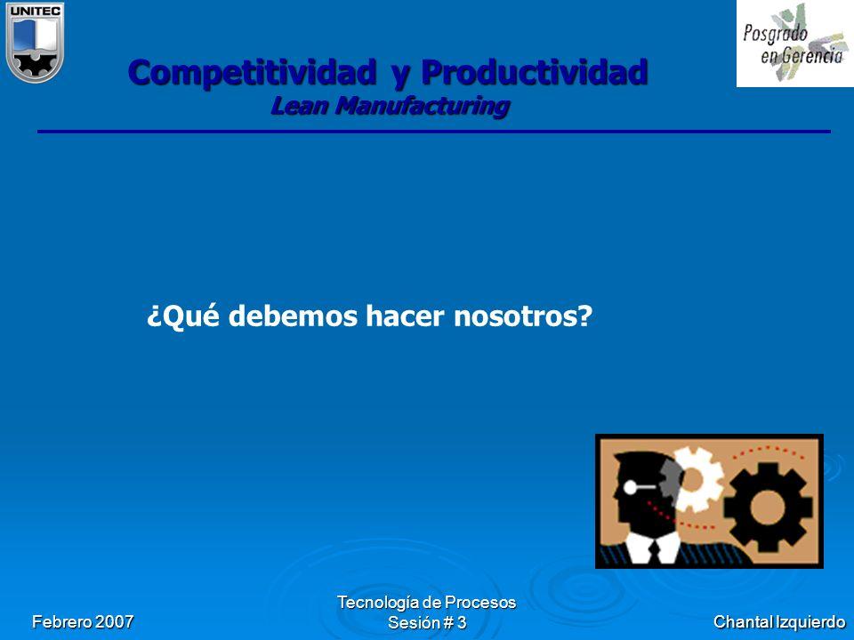 Chantal Izquierdo Febrero 2007 Tecnología de Procesos Sesión # 3 Competitividad y Productividad Lean Manufacturing ¿Qué debemos hacer nosotros