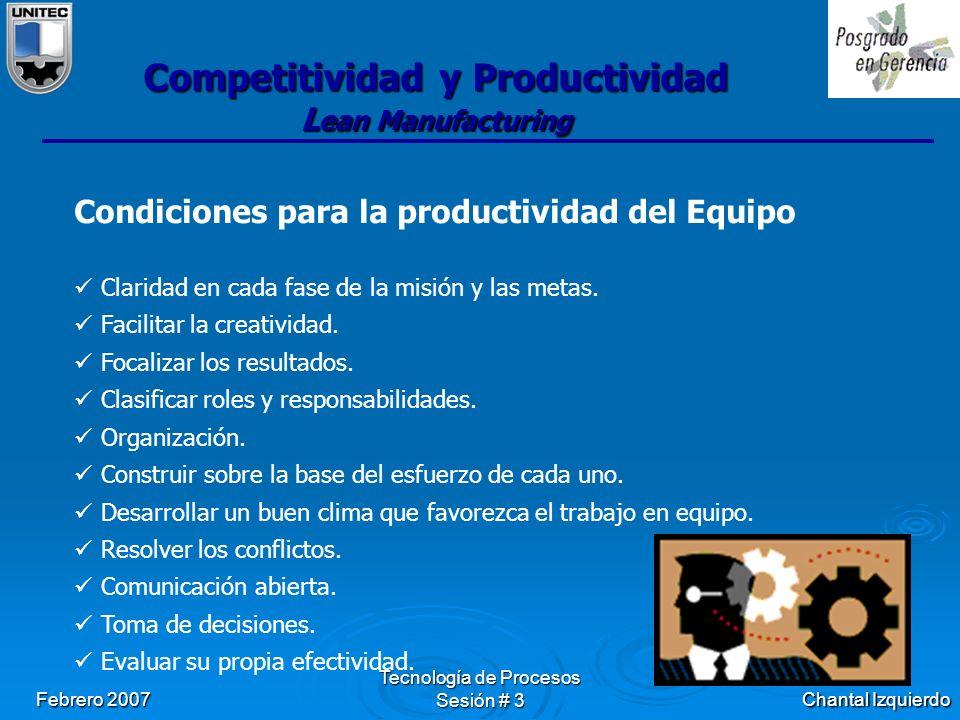Chantal Izquierdo Febrero 2007 Tecnología de Procesos Sesión # 3 Competitividad y Productividad L ean Manufacturing Condiciones para la productividad del Equipo Claridad en cada fase de la misión y las metas.