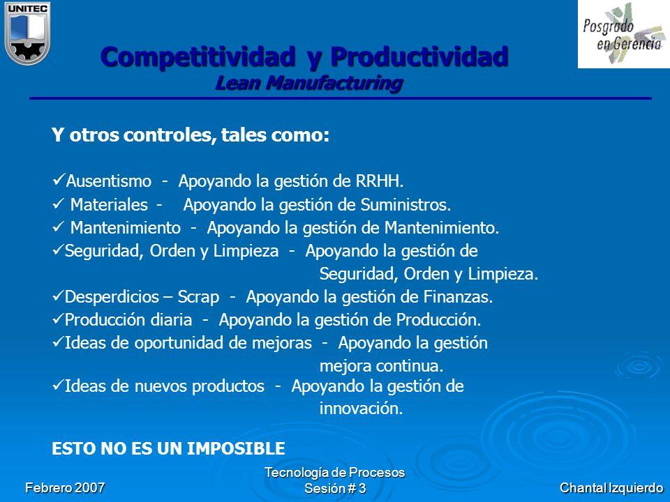 Chantal Izquierdo Febrero 2007 Tecnología de Procesos Sesión # 3 Competitividad y Productividad Lean Manufacturing Y otros controles, tales como: Ausentismo - Apoyando la gestión de RRHH.