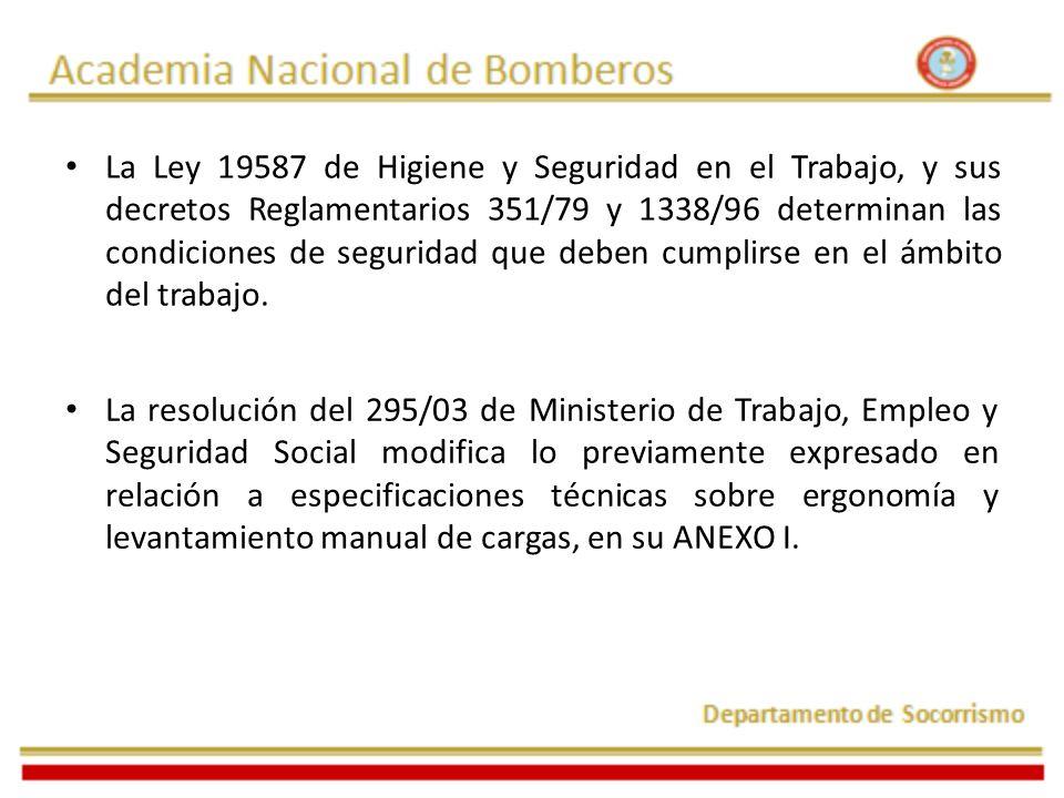 La Ley 19587 de Higiene y Seguridad en el Trabajo, y sus decretos Reglamentarios 351/79 y 1338/96 determinan las condiciones de seguridad que deben cu
