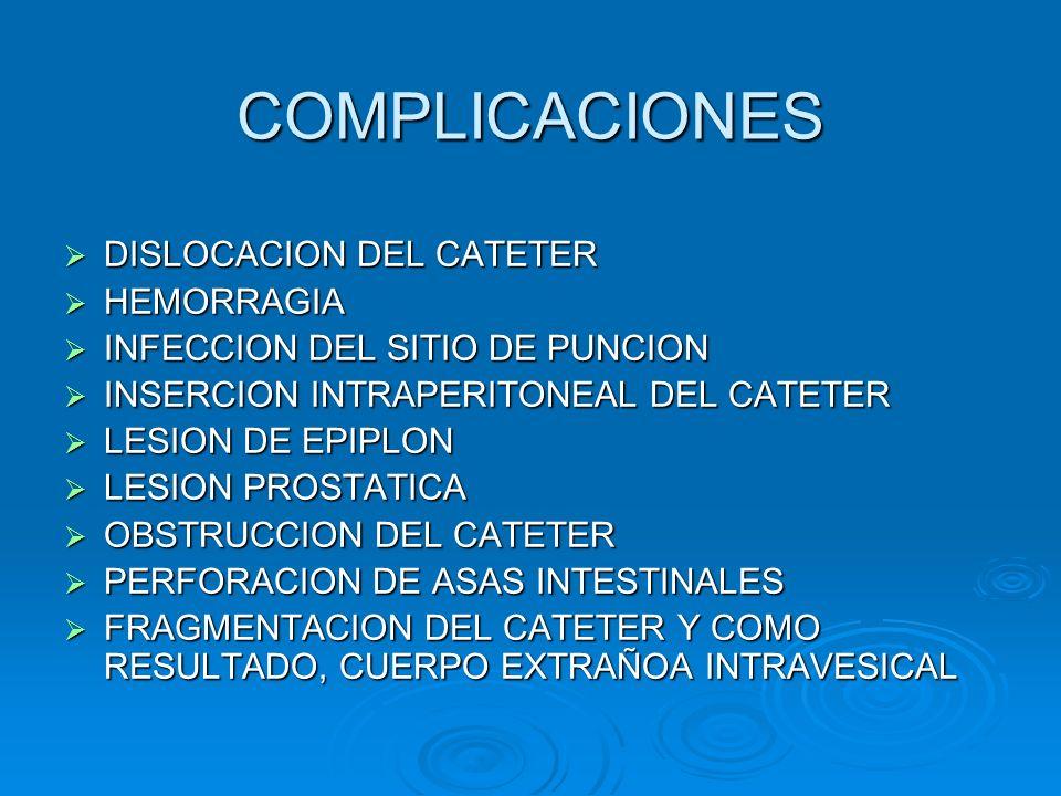 COMPLICACIONES  DISLOCACION DEL CATETER  HEMORRAGIA  INFECCION DEL SITIO DE PUNCION  INSERCION INTRAPERITONEAL DEL CATETER  LESION DE EPIPLON  L
