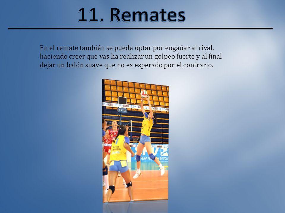 El jugador, saltando, envía el balón con fuerza al campo contrario buscando a jugadores mal defendido o contra los propios jugadores contrario en cond