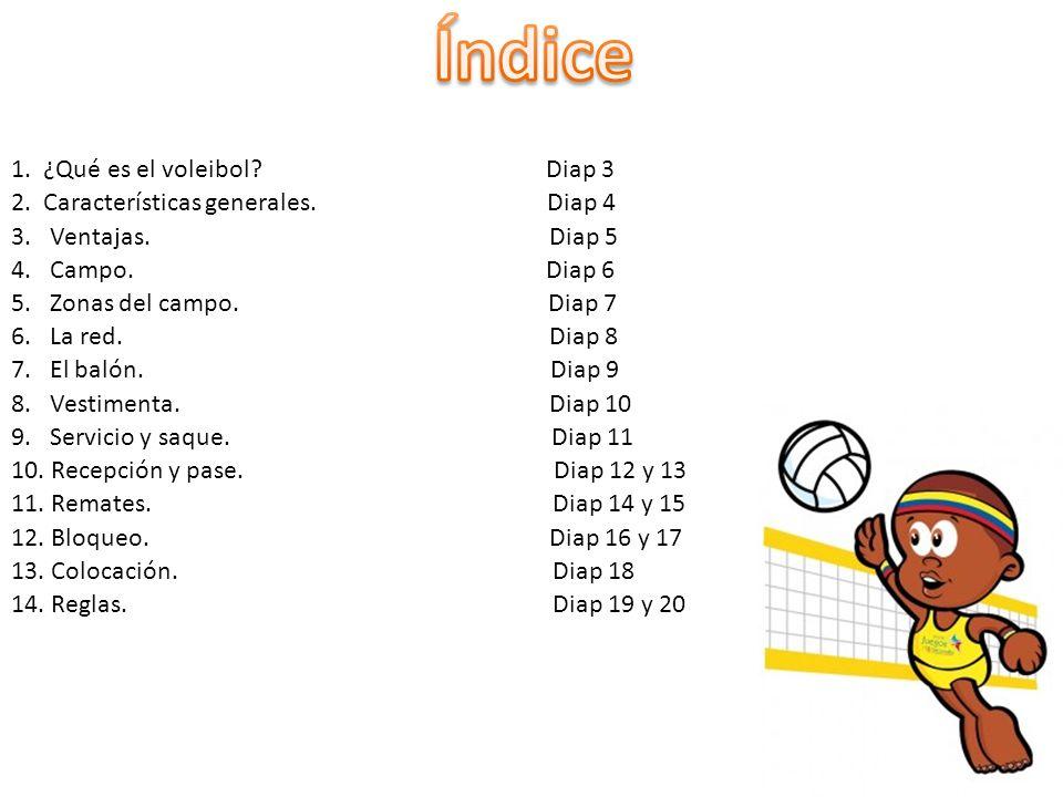 1.¿Qué es el voleibol. Diap 3 2. Características generales.