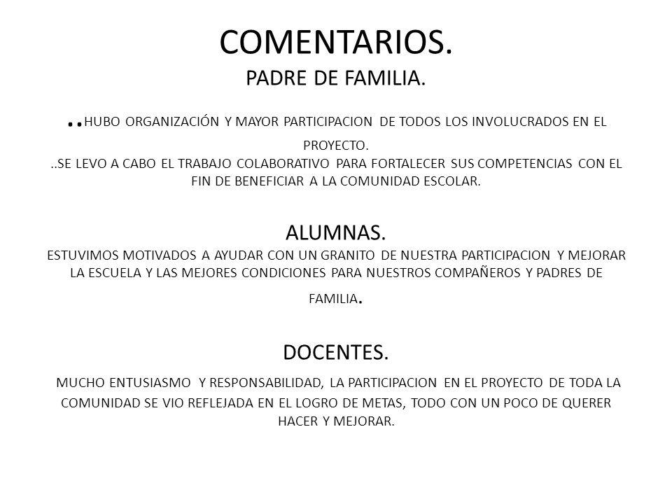 COMENTARIOS. PADRE DE FAMILIA... HUBO ORGANIZACIÓN Y MAYOR PARTICIPACION DE TODOS LOS INVOLUCRADOS EN EL PROYECTO...SE LEVO A CABO EL TRABAJO COLABORA