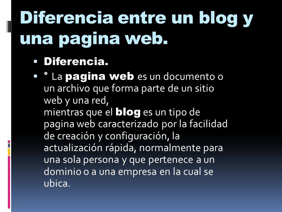 Diferencia entre un blog y una pagina web.  Diferencia.