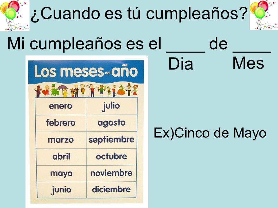 ¿Cuando es tú cumpleaños? Mi cumpleaños es el ____ de ____ Dia Mes Ex)Cinco de Mayo