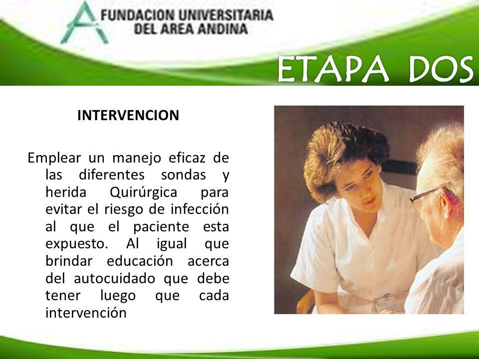 INTERVENCION Emplear un manejo eficaz de las diferentes sondas y herida Quirúrgica para evitar el riesgo de infección al que el paciente esta expuesto