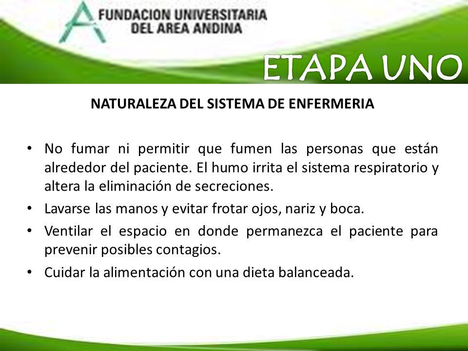NATURALEZA DEL SISTEMA DE ENFERMERIA No fumar ni permitir que fumen las personas que están alrededor del paciente. El humo irrita el sistema respirato