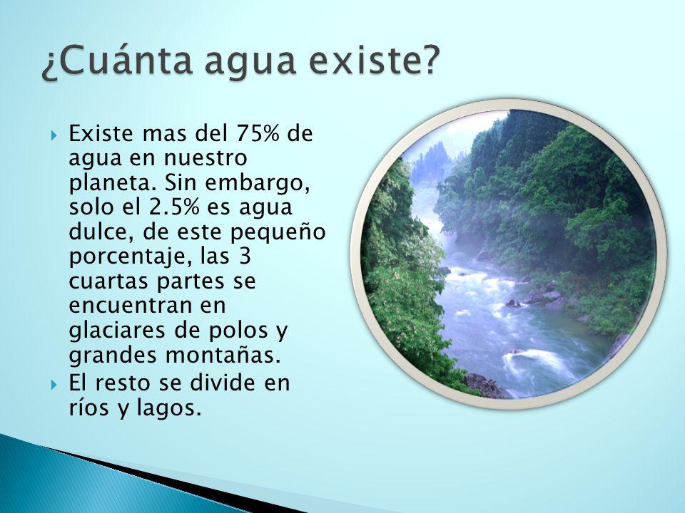  Existe mas del 75% de agua en nuestro planeta.