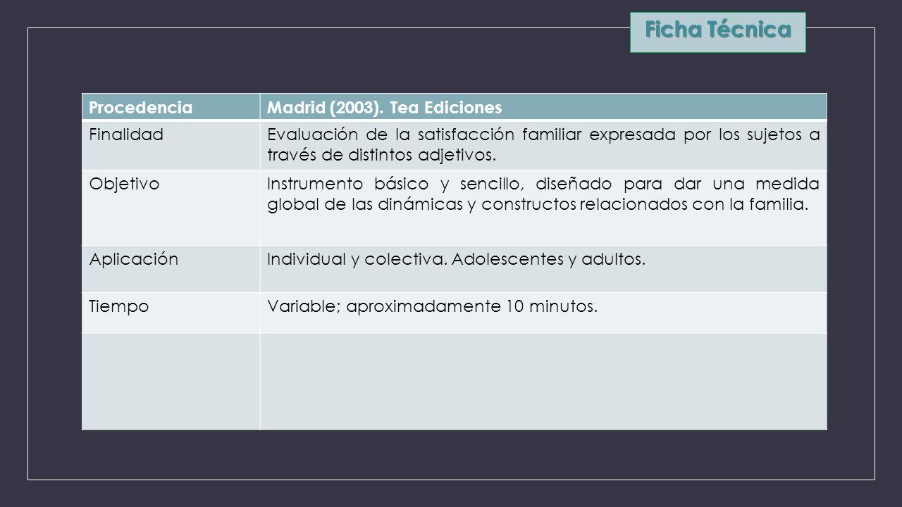 Ficha Técnica ProcedenciaMadrid (2003). Tea Ediciones FinalidadEvaluación de la satisfacción familiar expresada por los sujetos a través de distintos