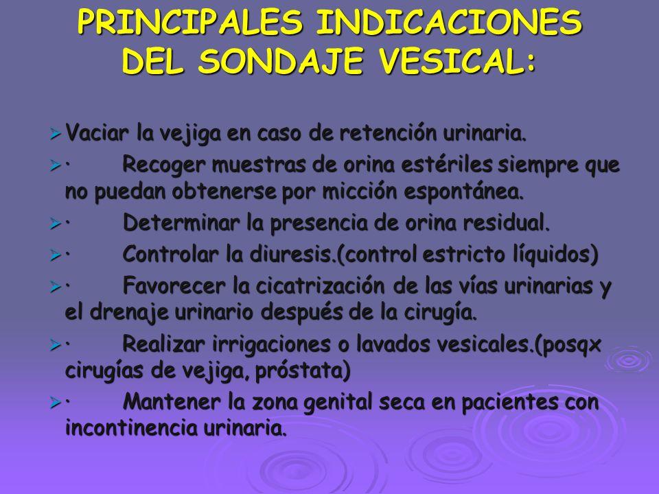PRINCIPALES INDICACIONES DEL SONDAJE VESICAL:  Vaciar la vejiga en caso de retención urinaria.  · Recoger muestras de orina estériles siempre que no