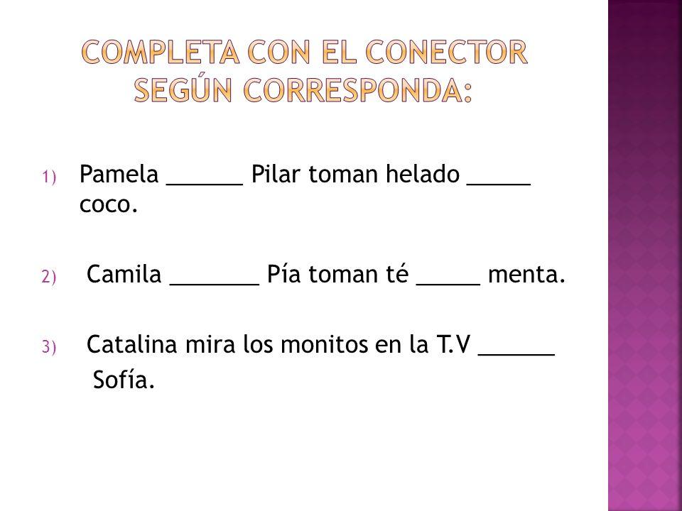 1) Pamela ______ Pilar toman helado _____ coco. 2) Camila _______ Pía toman té _____ menta.