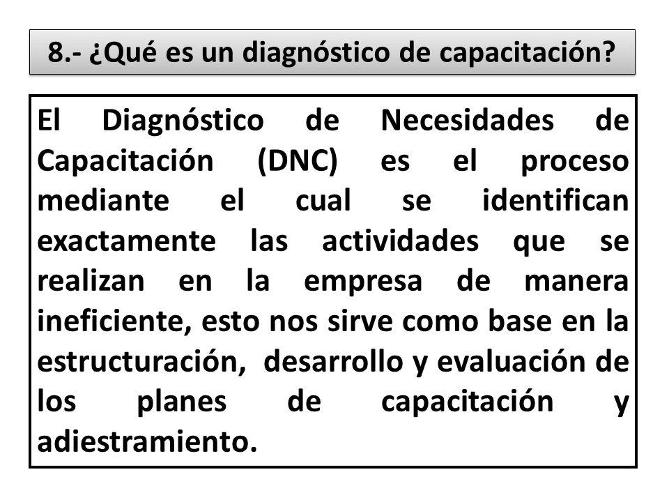 8.- ¿Qué es un diagnóstico de capacitación.