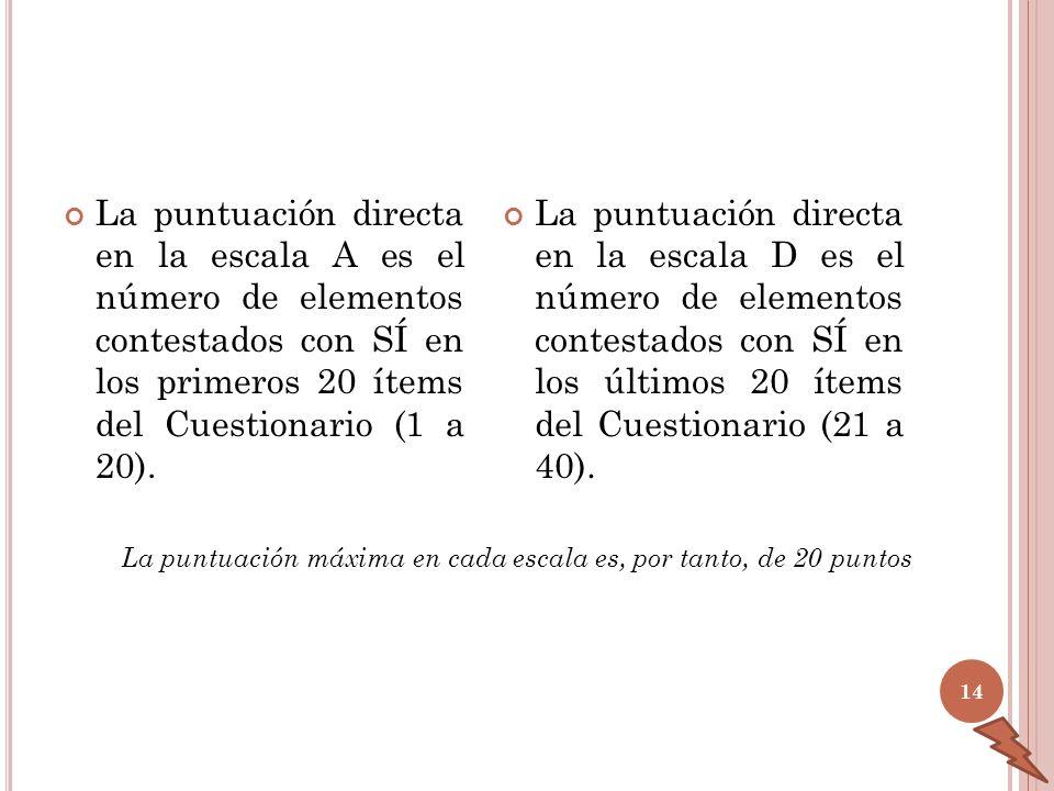 La puntuación directa en la escala A es el número de elementos contestados con SÍ en los primeros 20 ítems del Cuestionario (1 a 20). La puntuación di