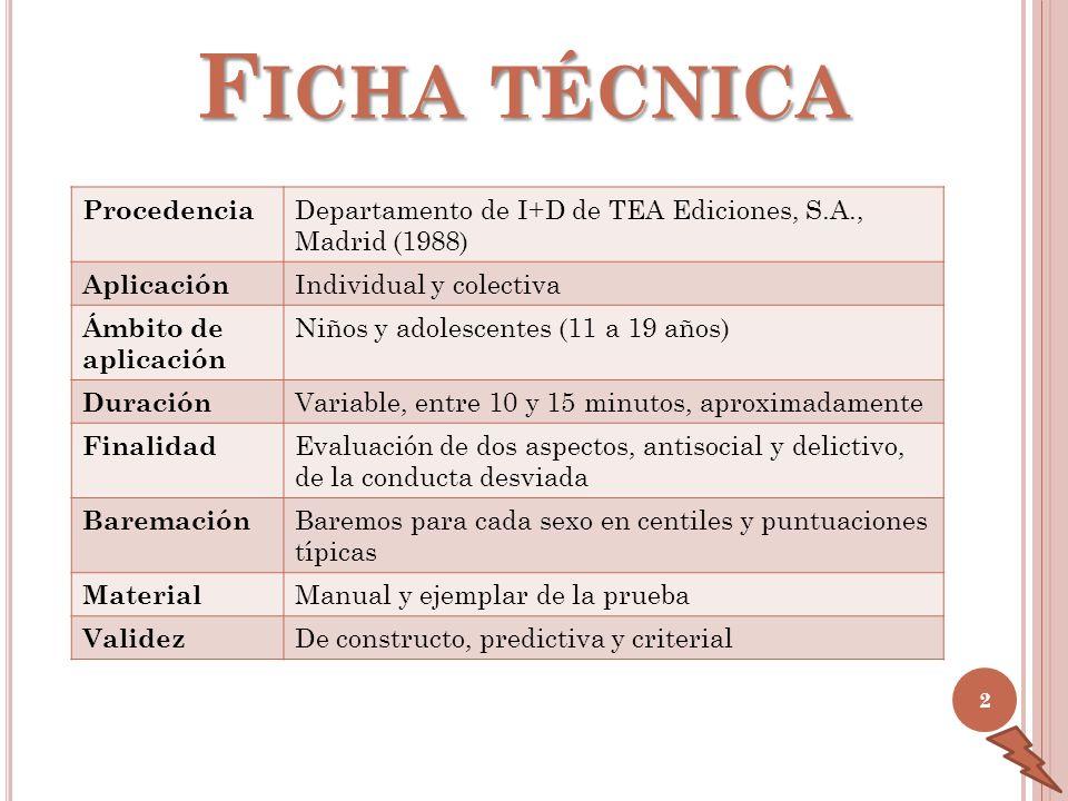 F ICHA TÉCNICA Procedencia Departamento de I+D de TEA Ediciones, S.A., Madrid (1988) Aplicación Individual y colectiva Ámbito de aplicación Niños y ad