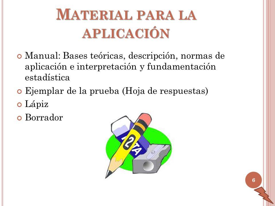 M ATERIAL PARA LA APLICACIÓN Manual: Bases teóricas, descripción, normas de aplicación e interpretación y fundamentación estadística Ejemplar de la pr