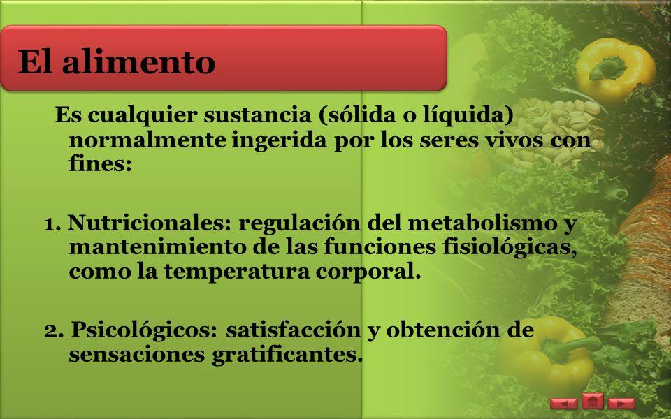 El alimento Es cualquier sustancia (sólida o líquida) normalmente ingerida por los seres vivos con fines: 1.
