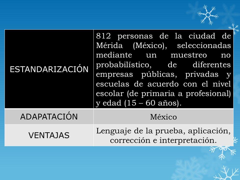 Validez Esta se obtuvo a través de un análisis factorial de segundo orden al realizar una comparación entre las poblaciones de la ciudad de Mérida y México obteniendo resultados similares, sin embargo, se decidió tomar la ciudad de México como la de estandarización para obtener los baremos correspondientes.