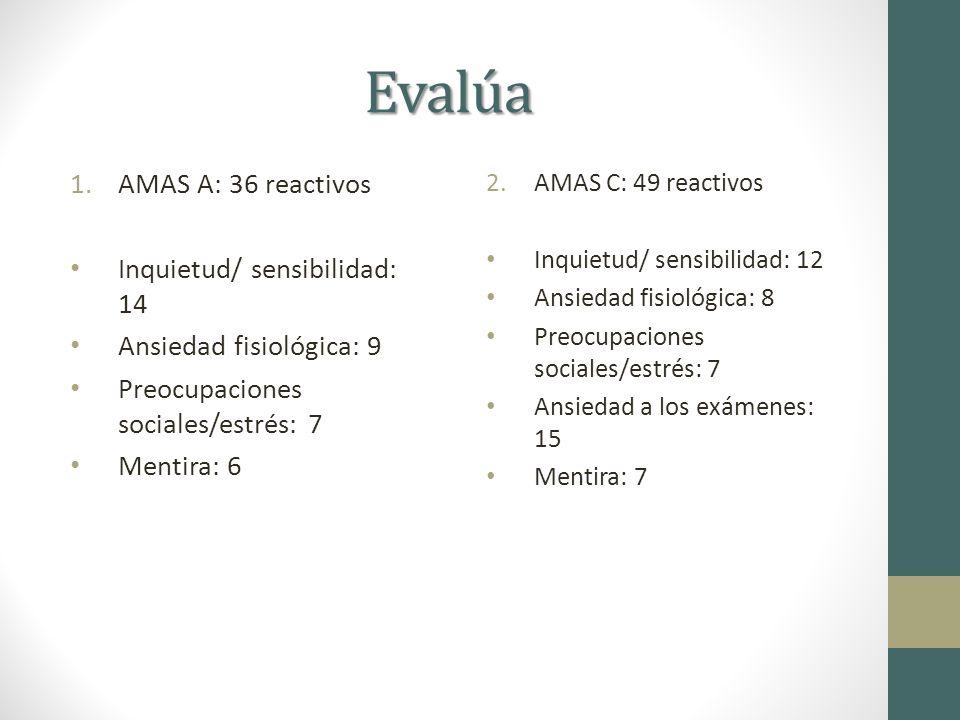 Evalúa 3.AMAS A: 44 reactivos Inquietud/ sensibilidad: 23 Ansiedad fisiológica: 7 Temor al envejecimiento: 7 Mentira: 7