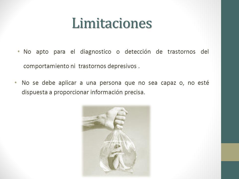 Limitaciones No apto para el diagnostico o detección de trastornos del comportamiento ni trastornos depresivos.