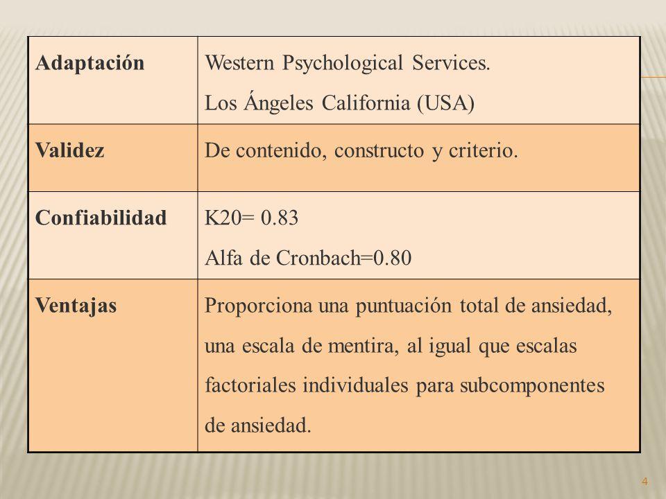 4 Adaptación Western Psychological Services.