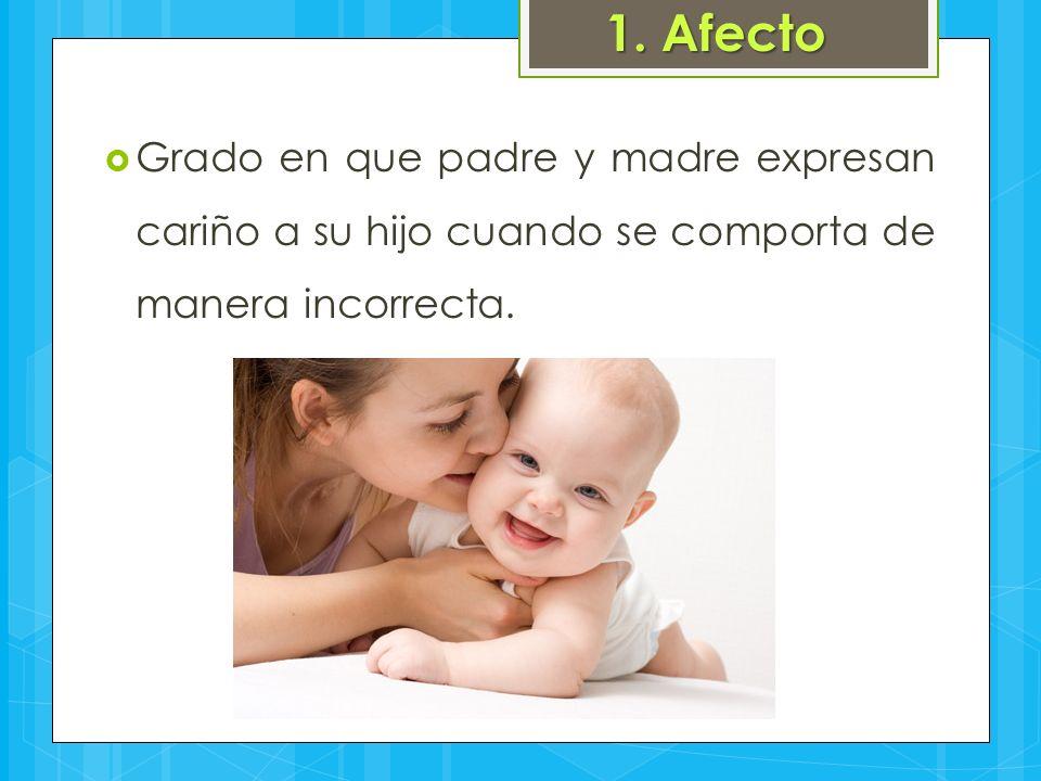 1. Afecto  Grado en que padre y madre expresan cariño a su hijo cuando se comporta de manera incorrecta.