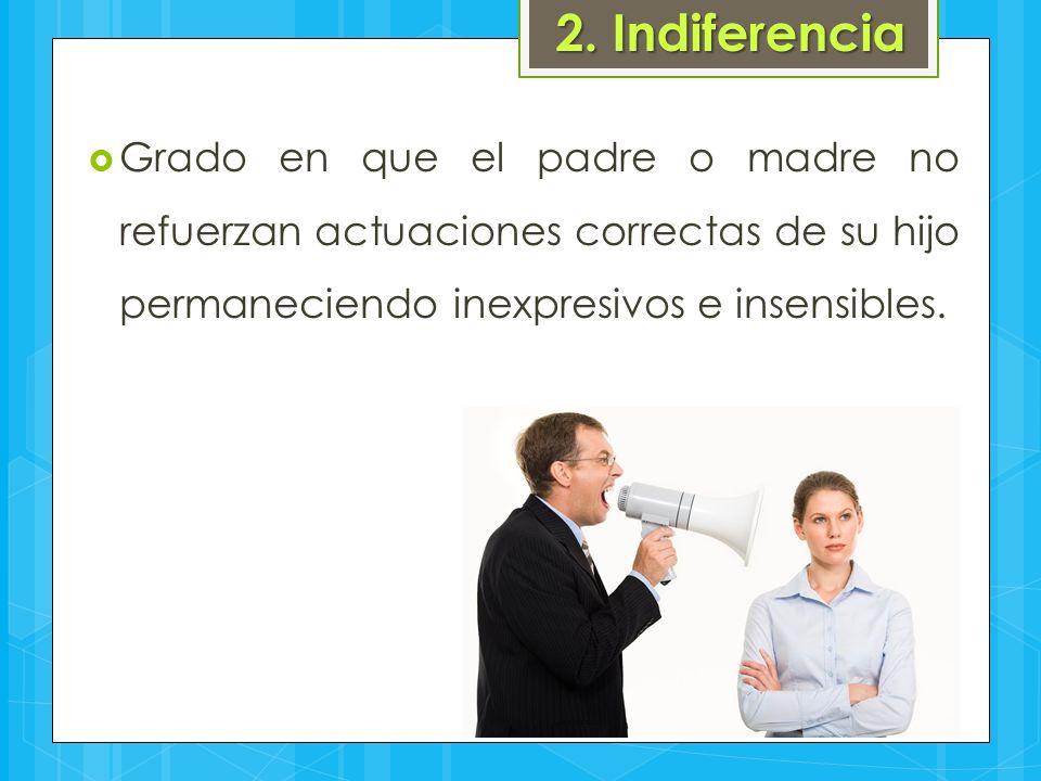 2. Indiferencia  Grado en que el padre o madre no refuerzan actuaciones correctas de su hijo permaneciendo inexpresivos e insensibles.