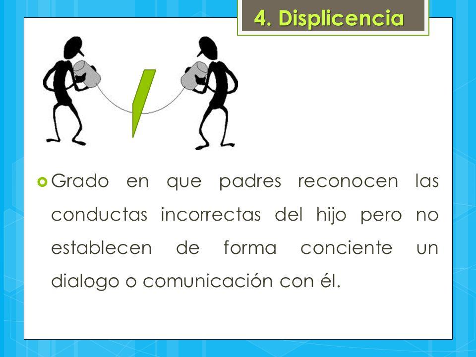 4. Displicencia  Grado en que padres reconocen las conductas incorrectas del hijo pero no establecen de forma conciente un dialogo o comunicación con