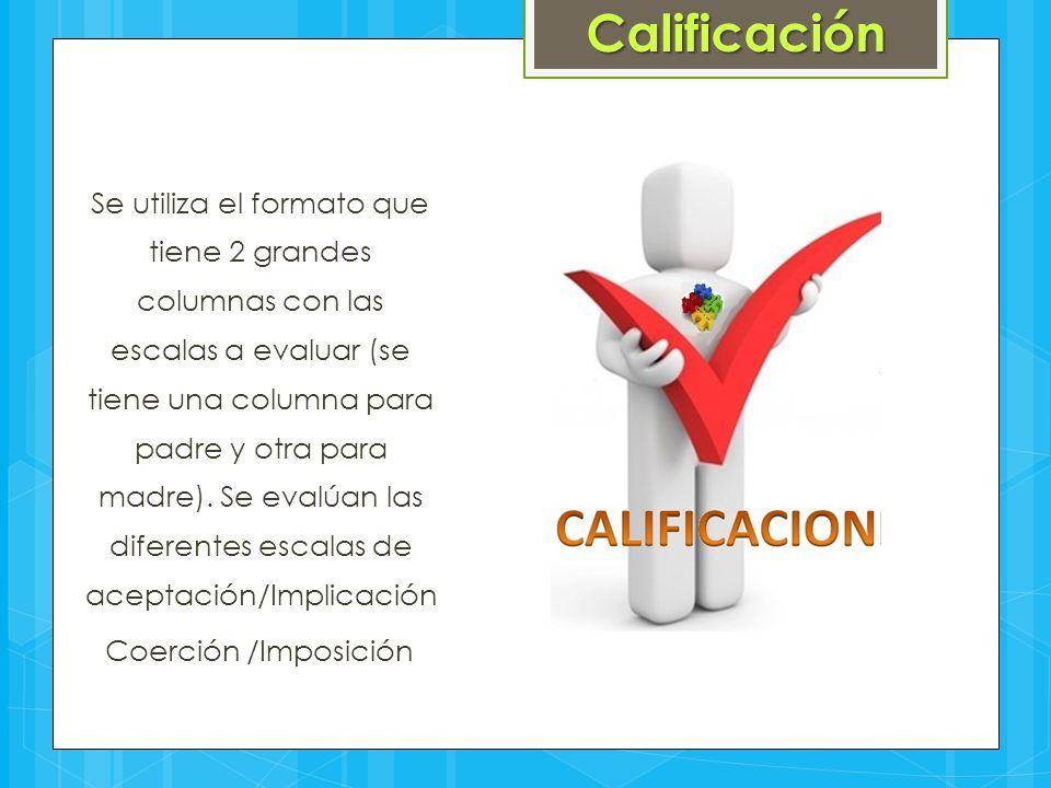 Se utiliza el formato que tiene 2 grandes columnas con las escalas a evaluar (se tiene una columna para padre y otra para madre). Se evalúan las difer