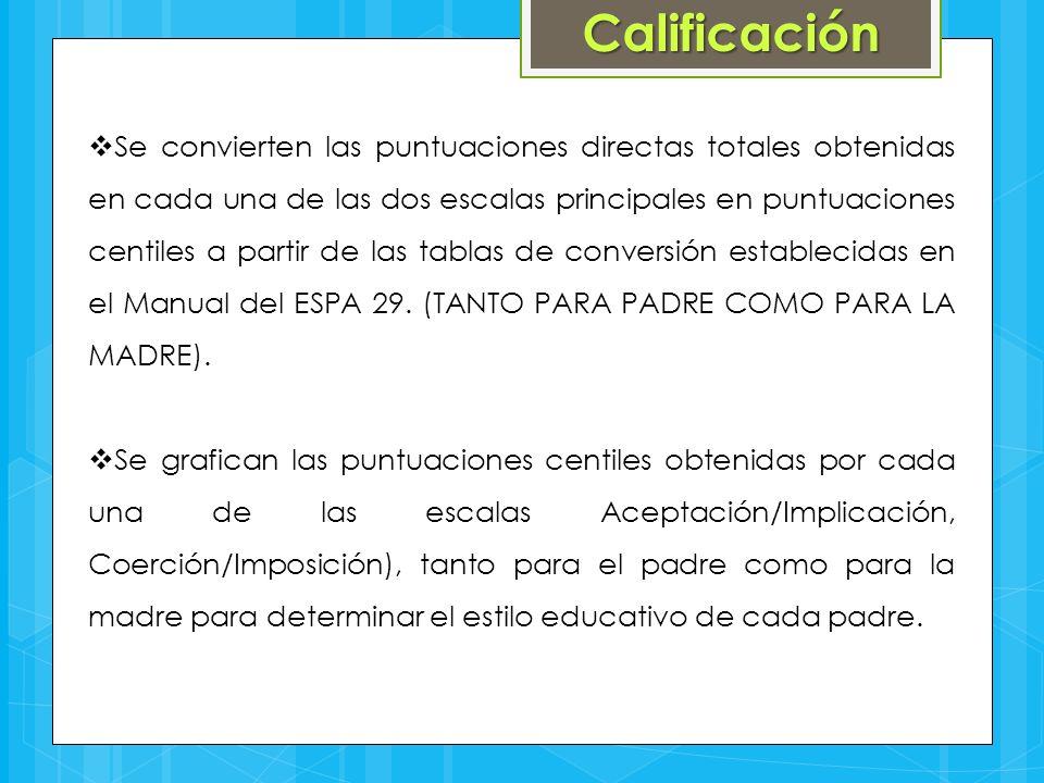Calificación  Se convierten las puntuaciones directas totales obtenidas en cada una de las dos escalas principales en puntuaciones centiles a partir