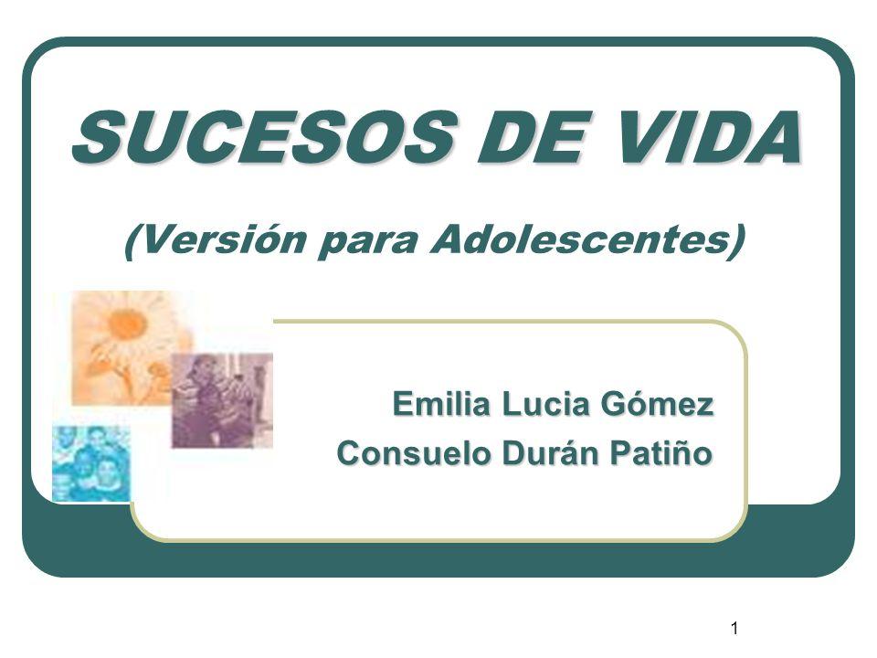 1 SUCESOS DE VIDA SUCESOS DE VIDA (Versión para Adolescentes) Emilia Lucia Gómez Consuelo Durán Patiño
