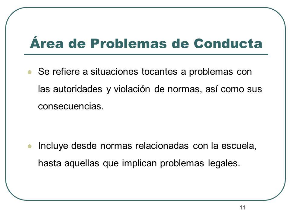 11 Área de Problemas de Conducta Se refiere a situaciones tocantes a problemas con las autoridades y violación de normas, así como sus consecuencias.