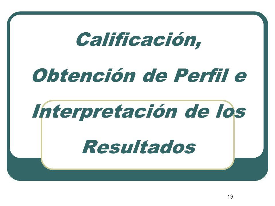 19 Calificación, Obtención de Perfil e Interpretación de los Resultados