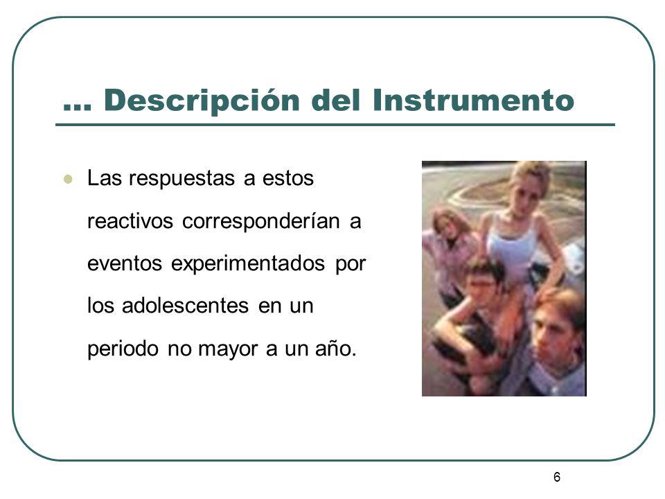 6 … Descripción del Instrumento Las respuestas a estos reactivos corresponderían a eventos experimentados por los adolescentes en un periodo no mayor