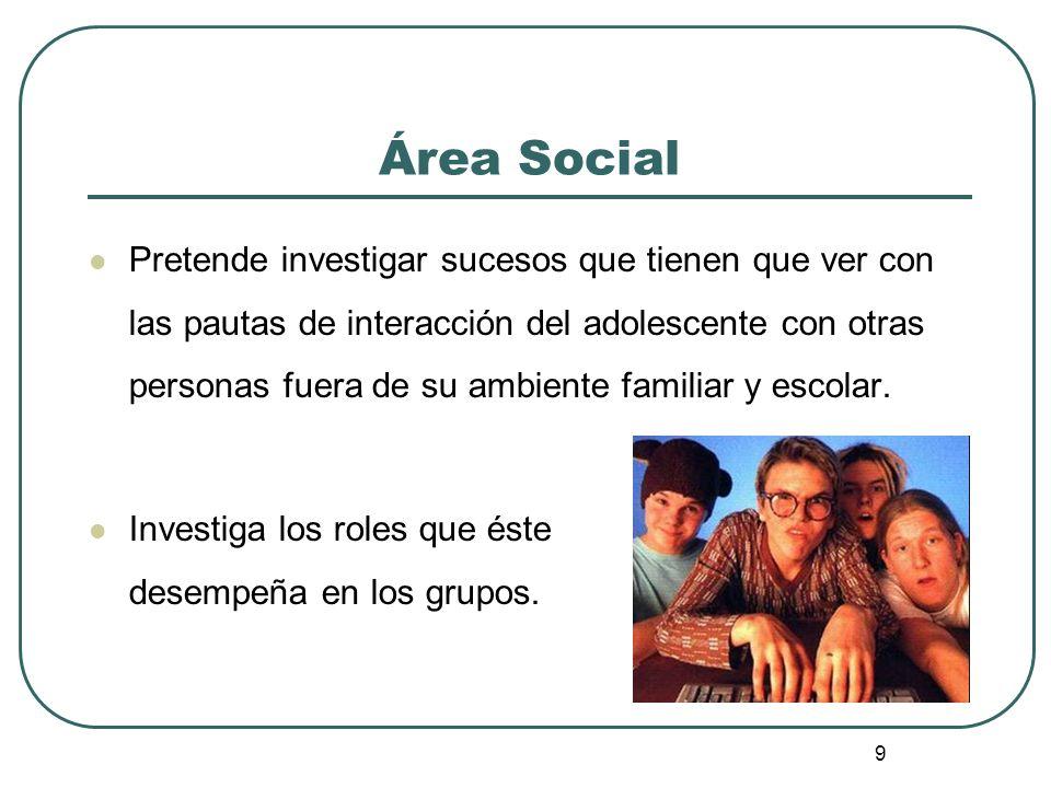9 Área Social Pretende investigar sucesos que tienen que ver con las pautas de interacción del adolescente con otras personas fuera de su ambiente fam