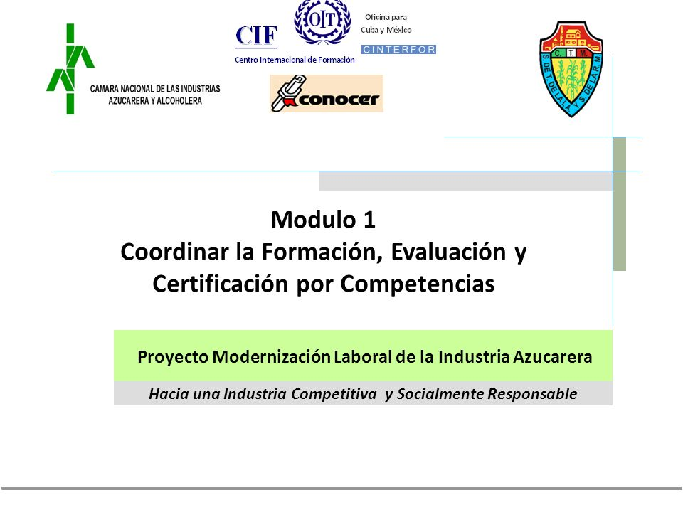 Hacia una Industria Competitiva y Socialmente Responsable Proyecto Modernización Laboral de la Industria Azucarera Modulo 1 Coordinar la Formación, Evaluación y Certificación por Competencias