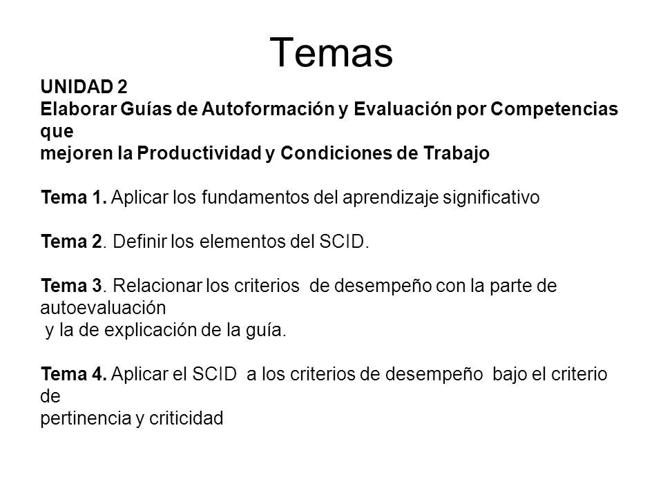 UNIDAD 2 Elaborar Guías de Autoformación y Evaluación por Competencias que mejoren la Productividad y Condiciones de Trabajo Tema 5.
