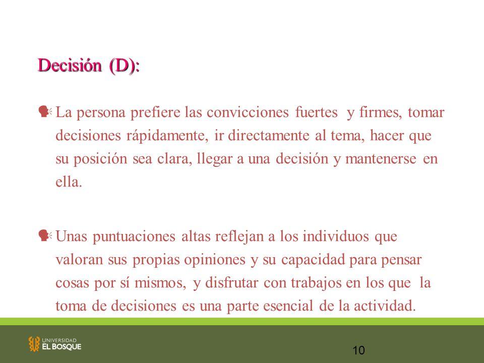 10 Decisión (D): La persona prefiere las convicciones fuertes y firmes, tomar decisiones rápidamente, ir directamente al tema, hacer que su posición s