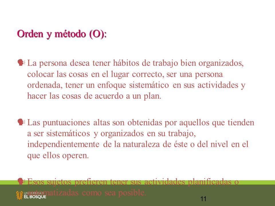11 Orden y método (O): La persona desea tener hábitos de trabajo bien organizados, colocar las cosas en el lugar correcto, ser una persona ordenada, t