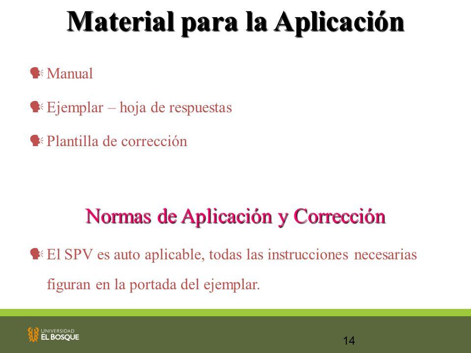 14 Material para la Aplicación Manual Ejemplar – hoja de respuestas Plantilla de corrección Normas de Aplicación y Corrección El SPV es auto aplicable
