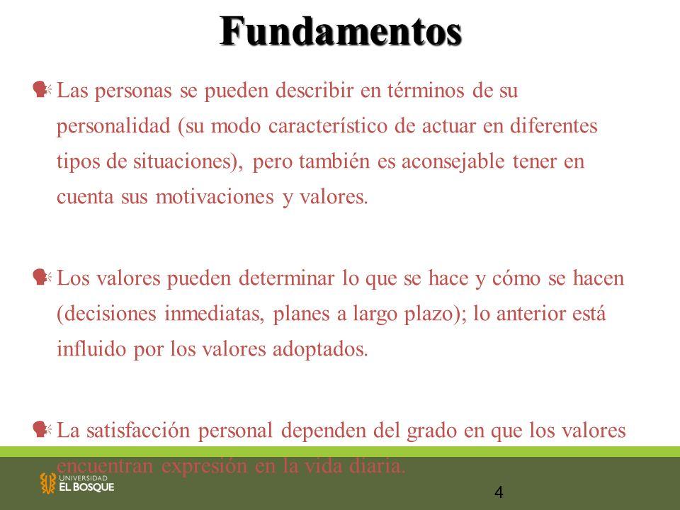 4Fundamentos Las personas se pueden describir en términos de su personalidad (su modo característico de actuar en diferentes tipos de situaciones), pe
