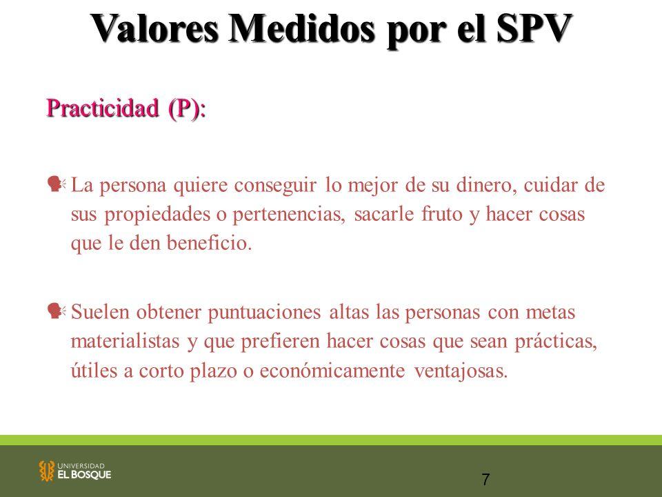 7 Valores Medidos por el SPV Practicidad (P): La persona quiere conseguir lo mejor de su dinero, cuidar de sus propiedades o pertenencias, sacarle fru