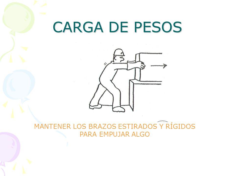 CARGA DE PESOS MANTENER LOS BRAZOS ESTIRADOS Y RÍGIDOS PARA EMPUJAR ALGO