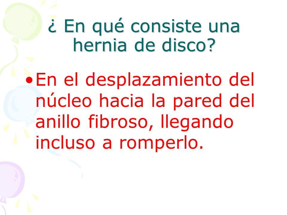 ¿ En qué consiste una hernia de disco.