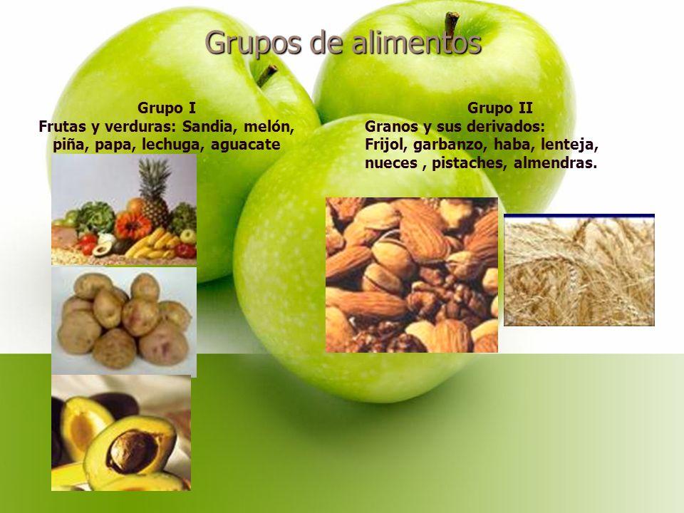 Grupos de alimentos Grupo I Frutas y verduras: Sandia, melón, piña, papa, lechuga, aguacate Grupo II Granos y sus derivados: Frijol, garbanzo, haba, lenteja, nueces, pistaches, almendras.
