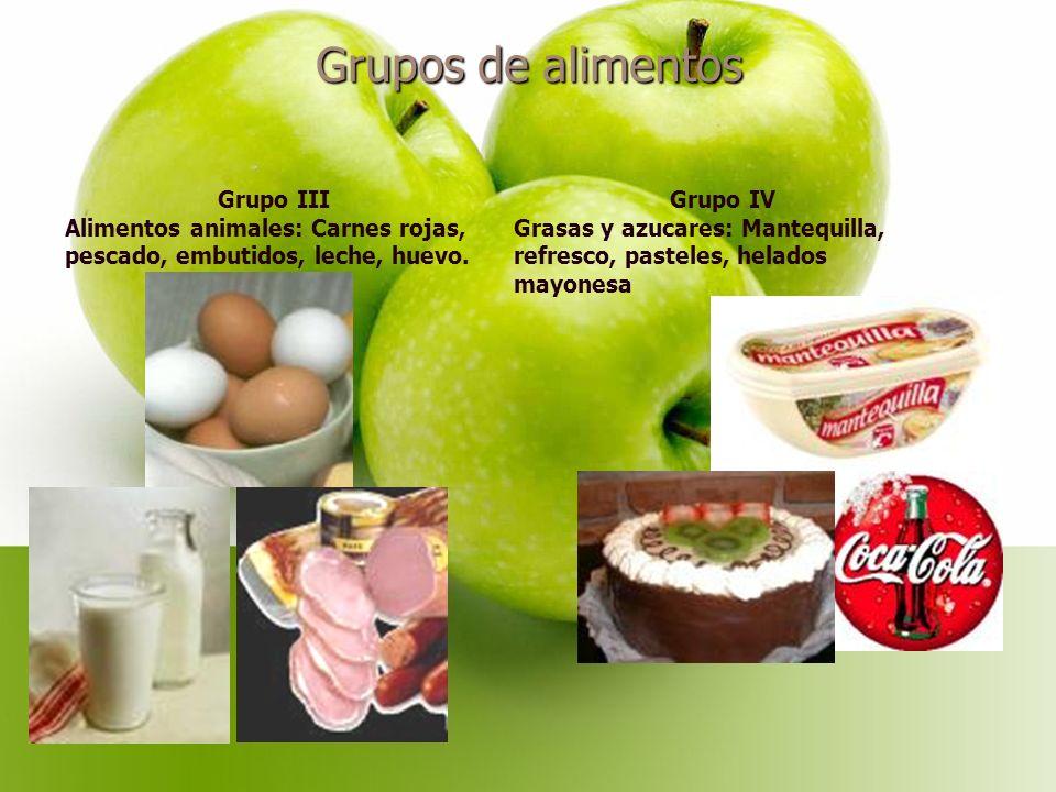 Grupos de alimentos Grupo III Alimentos animales: Carnes rojas, pescado, embutidos, leche, huevo.